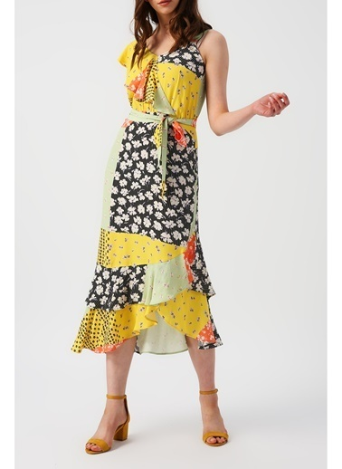 Random Kadın Bir Omzu Fırfırlı Bir Omzu Askılı Eteği Asimetrik Desenli Elbise  Sarı